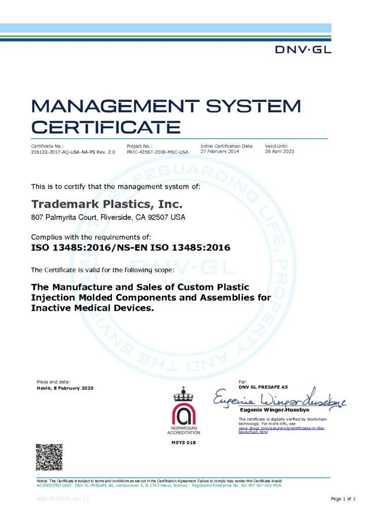 ISO 13485-2016 Cert.